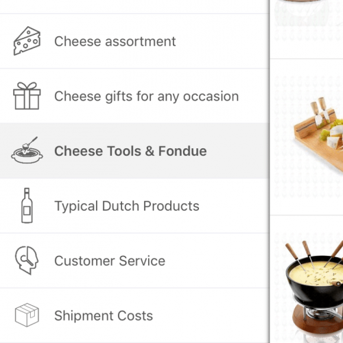 ecommerce app menu